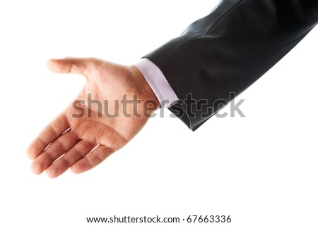 Photo of human palm giving it for a handshake - stock photo