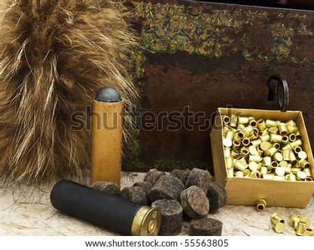 Photo of hunting theme with fox brush and gunpowder at beige - stock photo
