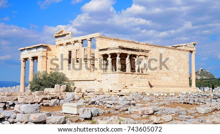 Photo of iconic Erechthion with famous Caryatids in Acropolis hill, Athens historic center, Attica, Greece