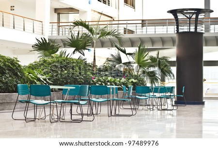 Photo of interior spaces of relaxation area in modern office buildings - stock photo