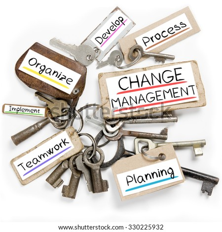 Photo of key bunch and paper tags with CHANGE MANAGEMENT conceptual words - stock photo