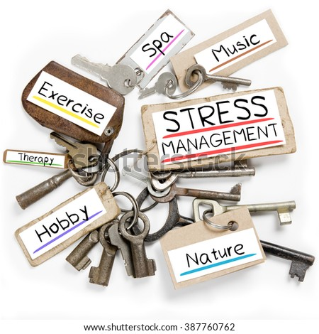 Photo of key bunch and paper tags with STRESS MANAGEMENT conceptual words - stock photo