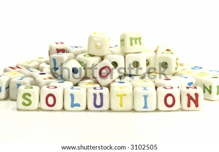 Photo of Letter Blocks Spelling The Word Solution - Background