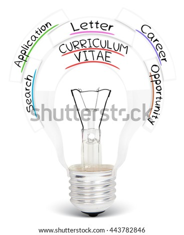 Photo of light bulb with CURRICULUM VITAE conceptual words isolated on white - stock photo