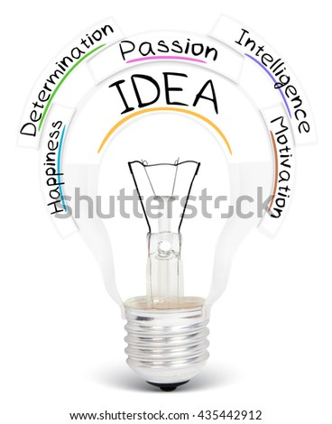 Photo of light bulb with IDEA conceptual words isolated on white - stock photo