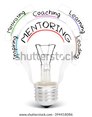 Photo of light bulb with MENTORING conceptual words isolated on white - stock photo