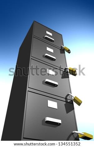 Photo of locked file cabinet (3D) - stock photo