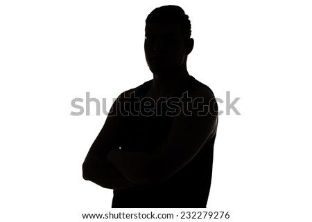 Photo of man's silhouette looking at camera on white background - stock photo