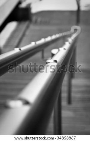 Photo of metal handrail taken in Bank, London