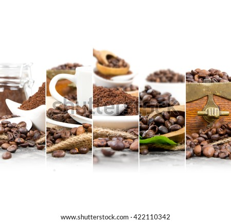 Photo of mix stripes with coffee beans and powder with spoons, coffee grinder, cup and bowls; white space for text - stock photo