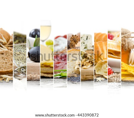 Photo of mix stripes with French Food and ingredients; healthy eating concept; white space for text - stock photo