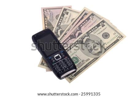Photo of mobile phone and money isolated on white - stock photo