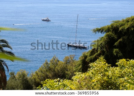 Photo of modern and classic yachts sailing boats vessels offshore in calm blue sea summer time green trees silhouetted against seascape background, horizontal picture - stock photo