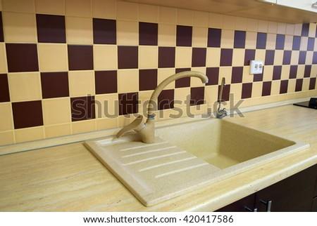 Photo of modern kitchen room - stock photo
