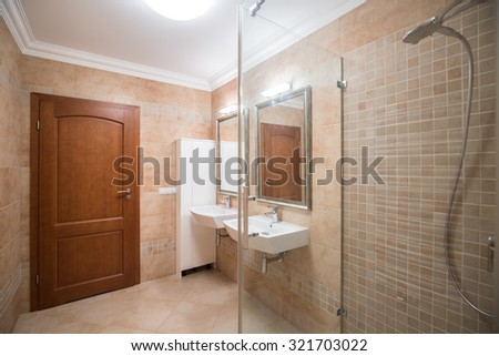 Photo of modern style bathroom with high quality fittings