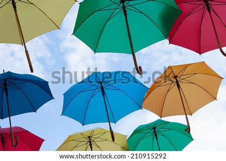Photo of multicolors umbrellas. Photo for business concepts, financial concepts, security concepts and many other. - stock photo
