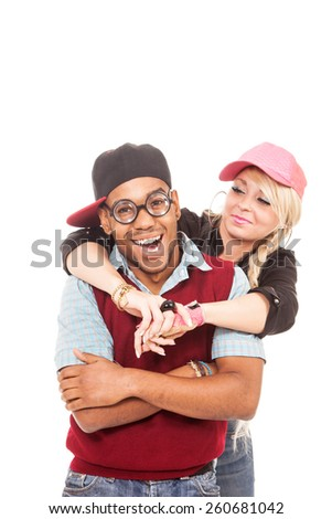 Photo of nerd and sexy blonde girl over white isolated background - stock photo