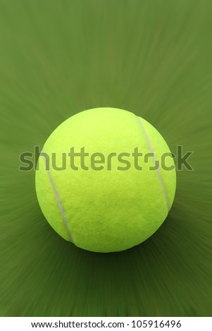 Photo of new tennis ball hit hard with a racket and moving fast on tennis court. - stock photo
