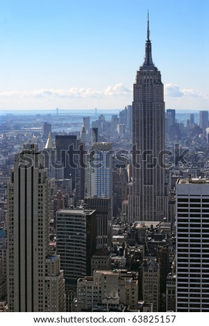 Photo of New York city and the Empire State Building. - stock photo