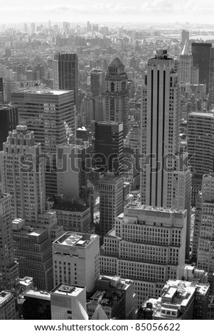 Photo of New York city in black and white. - stock photo