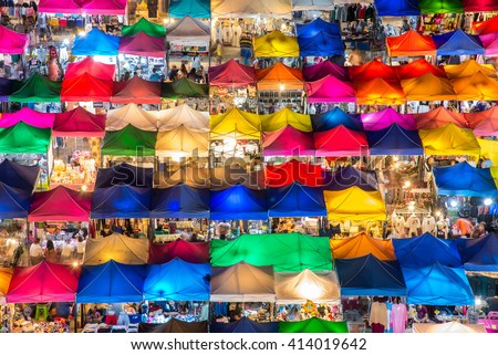 photo of night market high view from building colorful tent retail shop and lighting - stock photo