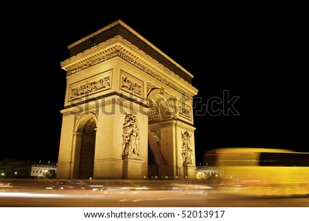 photo of night view of Arch of Triumph, France