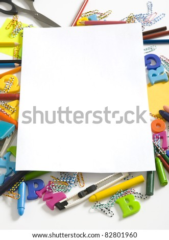 Photo of office and student gear. You can put your text on the paper - stock photo