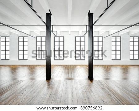 Photo of open space interior in modern loft. Empty white walls. Wood floor, black beams,big windows. Horizontal, blank mockup. 3d rendering - stock photo