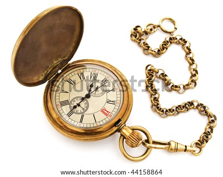 Photo of opened old vintage pocket clock against the white background - stock photo