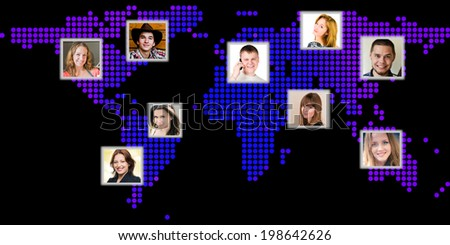 Photo of people at world map. International communication concept  - stock photo