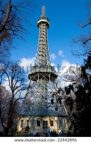 Photo of Petrin outlook tower in Prague in Czech republic - stock photo