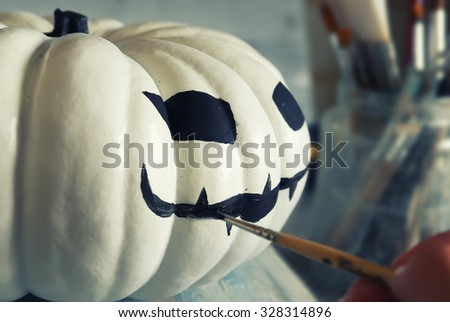 Photo of  preparation of halloween decorations - stock photo