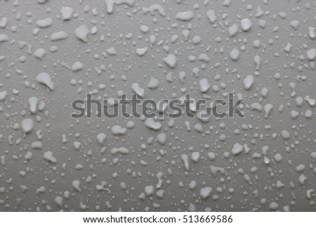 Photo of raindrops on gray metal background