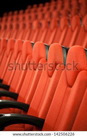 Photo Of Red Seats In Modern Cinema.