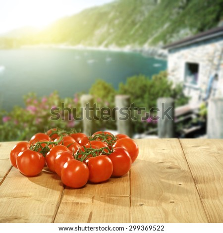 photo of red tomatoes and summer landscape  - stock photo