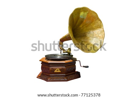 photo of retro gramophone with disc isolated