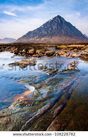 Photo of scottish highlands landscape scene from the River Etive looking towards Buachaille Etive Mor, Glencoe, Scotland - stock photo