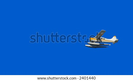Photo of seaplane with blue sky as background - stock photo