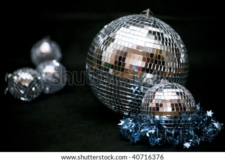Photo of several disco balls on a black background - stock photo