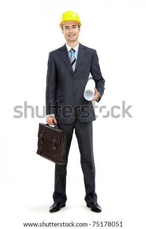 Photo of smart businessman in helmet over white background - stock photo