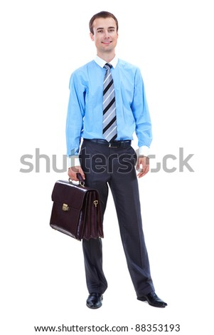 Photo of smart businessman with briefcase on white background