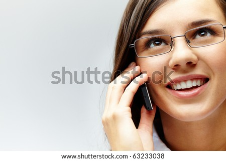 Photo of smart businesswoman calling somebody in isolation