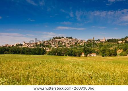 Photo of Spello village in the summer season - stock photo