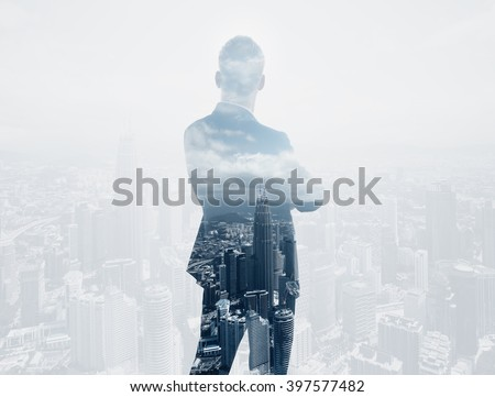 Photo of stylish adult businessman wearing trendy suit and looking city. Double exposure, panoramic view contemporary City background. Horizontal  - stock photo
