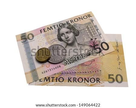 Photo of Swedish money isolated on white background - stock photo