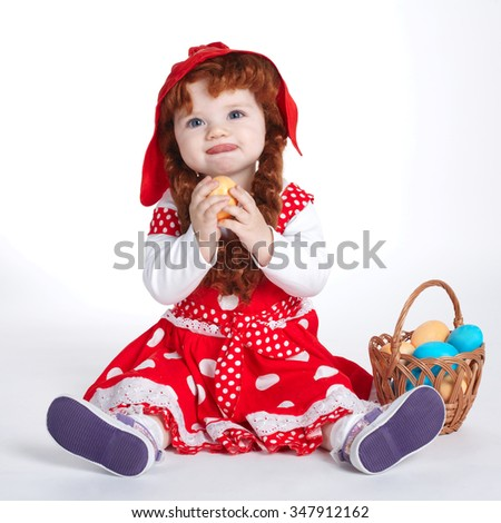 photo of sweet girl with easter eggs - stock photo