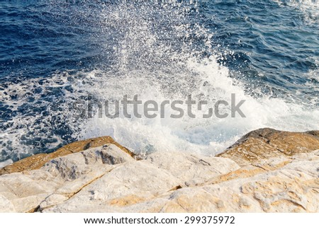 Photo of the beautiful fluctuating sea in Greece - stock photo