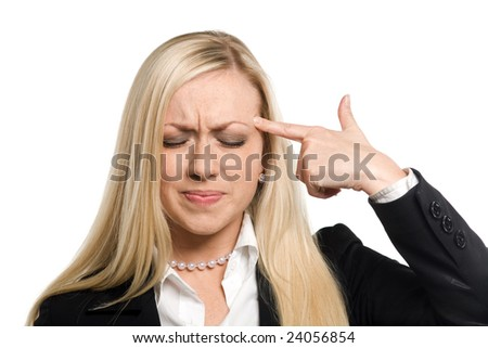 Photo of the businesswoman on white background, gesturing suicide - stock photo
