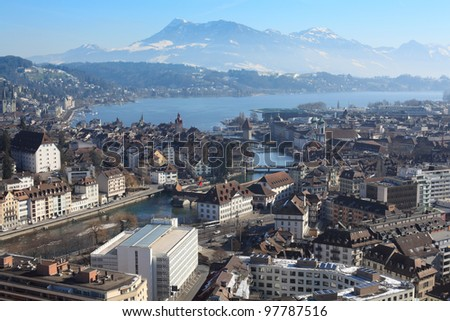 Photo of the cityscape of Lucerne, Switzerland.  Photo taken in the winter. - stock photo