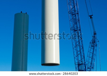 Photo of the construction of aerogenerator in Pchery - stock photo
